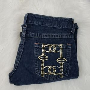 Bebe Gold Sequined Pockets Bootcut Jeans